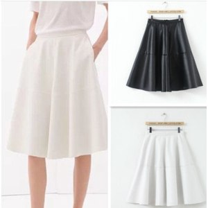 Юбка AliExpress New Autumn/Summer Solid Faux Leather Expansion Skirt High Waist Christmas Gift Women/Feminina Saia Women Clothing Free Shipping фото