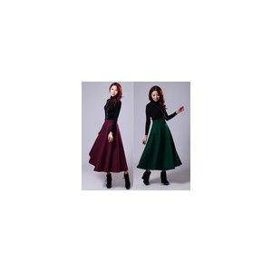 Юбка AliExpress 2014 Spring FREE SHIPPING womens Fashion vintage autumn winter woolen expansion lady long skirt wool full red black gray Dark фото