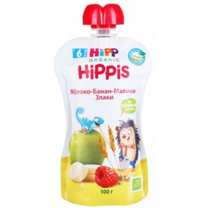 Детское пюре Hipp яблоко-банан-малина-злаки фото