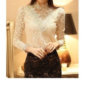 Блузка AliExpress Lace Blouse 2016 Elegant Long Sleeve Beaded Bodysuit Women Shirts Crochet Lace Tops Women Blusas Roupas Feminina Camisa Renda фото
