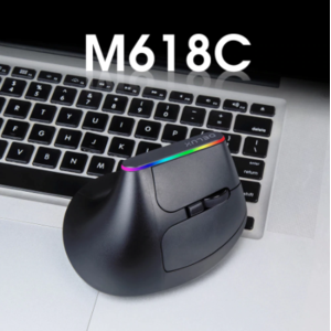 Вертикальная компьютерная мышь Delux M618C RGB Black беспроводная фото