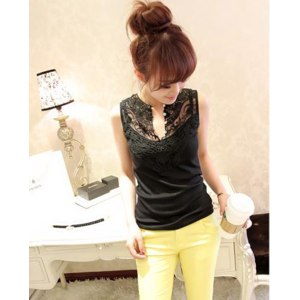 Кофточка AliExpress New spring and summer 2013 high quality gauze the lace shell clasp wild sleeveless vest фото
