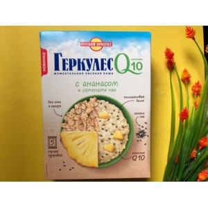 Моментальная овсяная каша Русский продукт Геркулес Q10 с ананасом и семенами чиа фото
