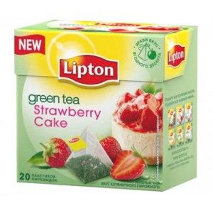 """Чай в пирамидках Lipton зеленый """"Клубничное пирожное"""" Strawberry Cake фото"""