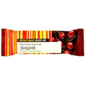 Фруктовый батончик Фруктовая энергия Фрутилад в шоколаде  ВИШНЯ фото