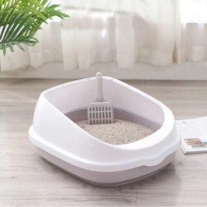 Лоток для кошек Aliexpress Pet Toilet Bedpan Anti Splash Cats Litter Box Cat Dog Tray with Scoop Kitten Dog Clean Toilette Home Plastic Sand Box Supplies фото