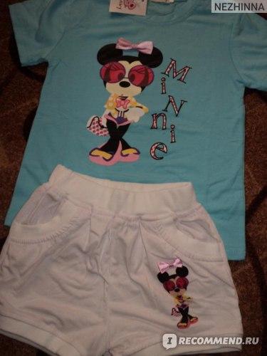 Комплект AliExpress 2013 New Lastest Design Baby Girls Summer Suit 2 Pieces Set Cute Minnie Mouse Print Short Sleeves T- shirt Top + Short Pants фото