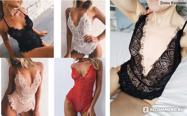 Эротическое белье AliExpress Sexy Women Bodysuit Swimsuit Lingerie Nightwear Babydoll Lace G-string Underwear Deep V Neck Bodysuit Lingerie фото