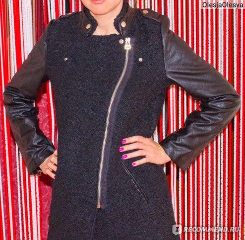 Пальто AliExpress Winter Women patchwork leather overcoat fashion woolen outerwear lady stand collar zipper long jacket фото