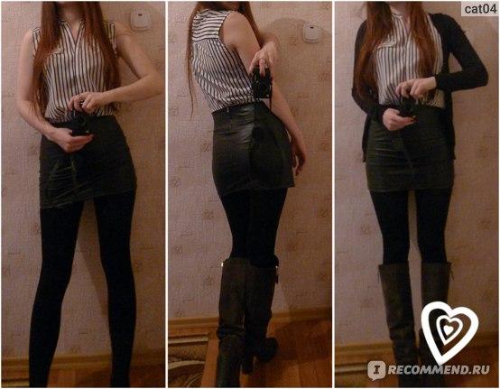 Юбка AliExpress Black Faux Leather Look Tights Back Zip Mini High Waist Short skirt фото
