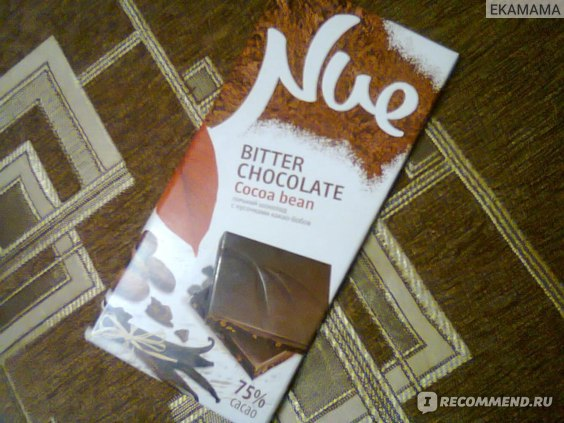 Шоколад Nue Горький с кусочками какао- бобов фото