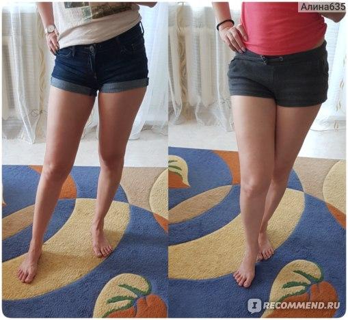 Справа ноги немного загорели естественным путем. Слева после нанесения автозагара.