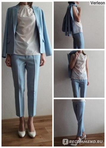 Брючный костюм AliExpress Set women's spring and autumn new female professional blazer Slim simple light blue suit and  pants feet pants two sets фото