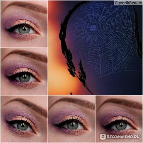 ...на все веко -#001,во внешний уголок глаза темно-фиалковый оттенок из 4-ки Faberlic, подводка от MAYBELLINE EyeStudio Lasting Drama Gel Liner оттенок Black