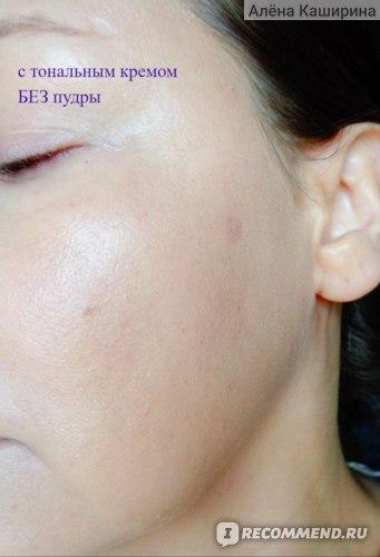 кожа с тональным кремом (тон выровнен) но без пудры