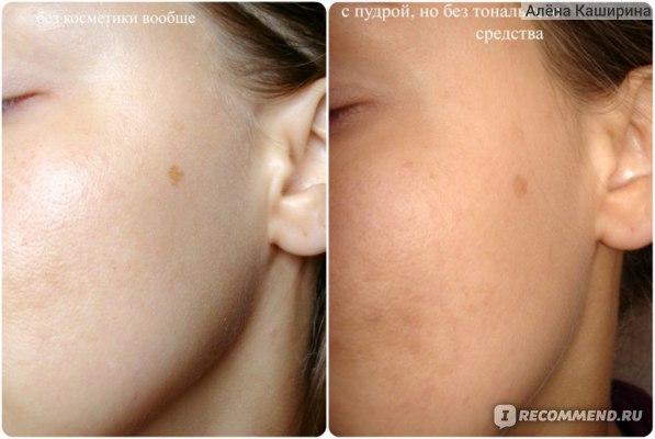слева - кожа без косметики, справа - нанесена пудра (без использования тонального средства)