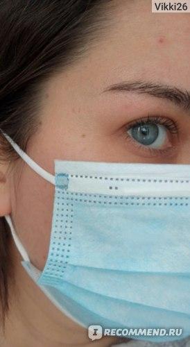 Маска медицинская из нетканного материала одноразовая Non-Medical Disposable Protective Mask защитная нестирильная фото