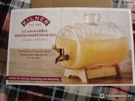 Бочонок/диспенсер для напитков Kilner Barrel 3 л на подставке: коробка, лицевая сторона 2