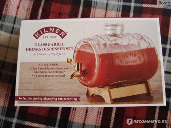 Бочонок/диспенсер для напитков Kilner Barrel 3 л на подставке: коробка, лицевая сторона 1