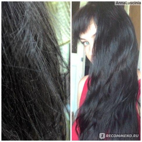 Фото волос до и после использования маски с Пантенолом Evo.