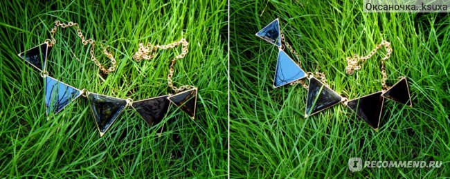 Ожерелье Aliexpress  Fashion punk pink green blue oil triangle multicolour necklace фото