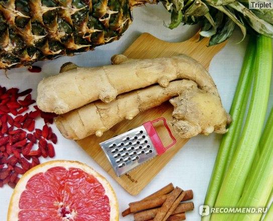 Корень имбиря, ананас, корица, сельдерей, годжи, грейпфрут.