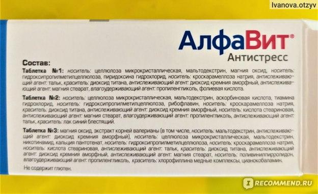 Состав витаминов Алфавит Антистресс