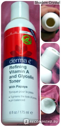 Тоник для лица Derma E Refining Vitamin A and Glycolic Toner фото