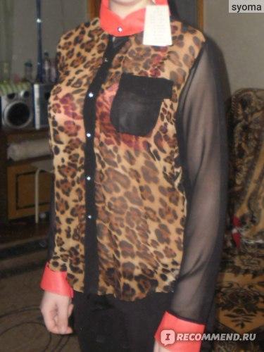 Блузка AliExpress New Fashion Women Chiffon Blouse Top shirts Long Sleeve Leopard Shirt фото