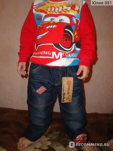 Костюмчик AliExpress 2013 clothing sets children short sleeves cars T-shirt+short jeans baby boys cartoon clothing sets summer Children suits pants фото