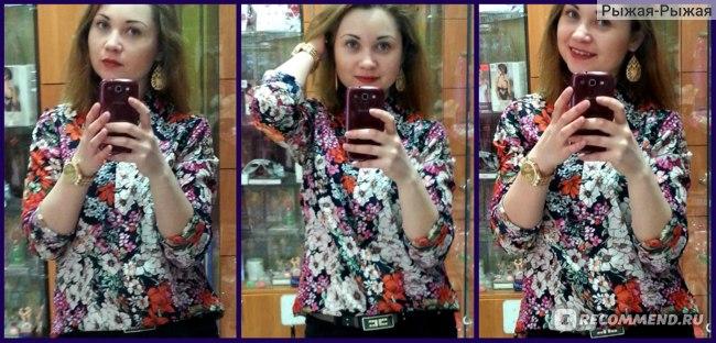 Блуза / рубашка AliExpress CL321 European style Famous brand Chiffon Retro flowers shirt Spring Summer fall women lady free Drop shipping фото
