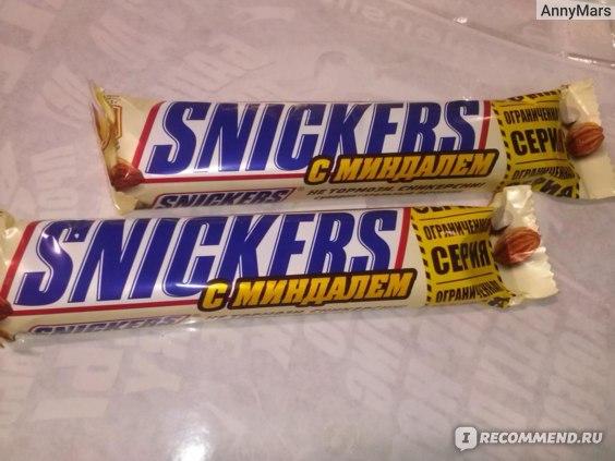 """Шоколадный батончик Mars SNICKERS """"С миндалем"""" с жареным арахисом, миндалем, карамелью, нугой, покрытый молочным шоколадом фото"""