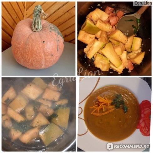Пример тыквенного супа-пюре. НО для жидкого питания никаких твердостей! На фото соломка-декор!