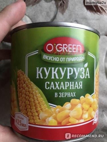 Консервированная кукуруза O'green Сахарная в зёрнах  фото