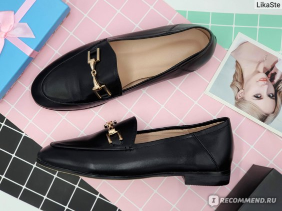 Обувь женская Aliexpress Лоферы Genuine Leather Flats Shoes Women Black Flats Woman Metal Decoration Shoes Round Toe Brown Loafers Slip on Casual Shoes Women фото