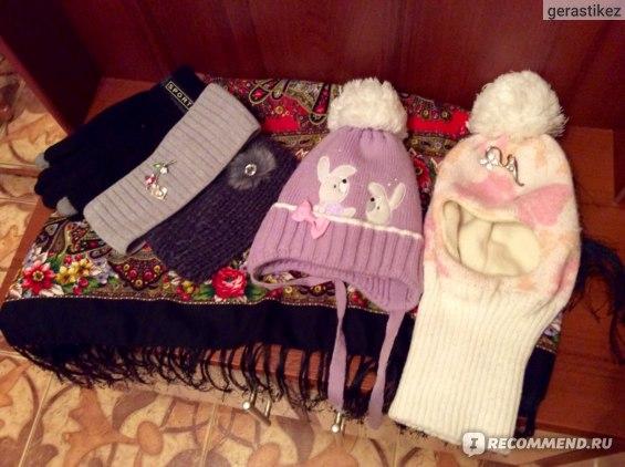 Сенсорные перчатки (мужские) и повязки на голову по 300 руб., детские шапки по 1200 рублей