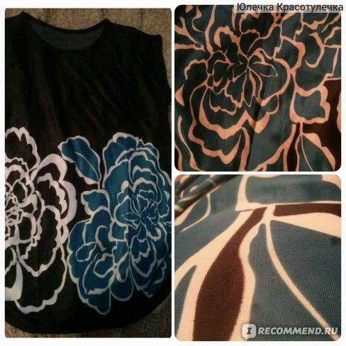 Футболка AliExpress Top Quality 2014 New Printed women's clothingt shirt women BIG FLOWERS Print Loose Batwing Sleeve Ice Silk Long T-Shirt PLA373 фото