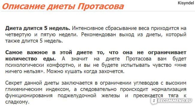 Сайт диеты кима протасова
