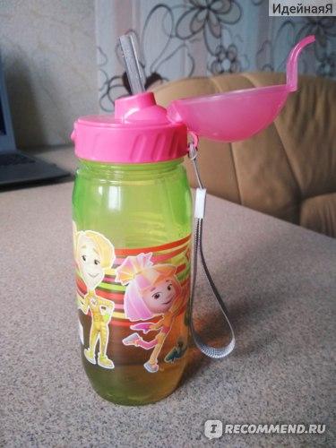 Бутылочка с трубочкой Фиксики для воды и других напитков фото