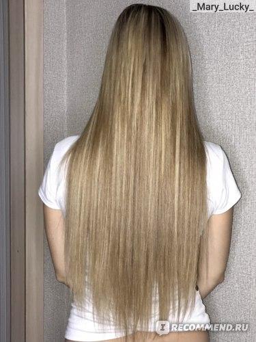 Волосы после использования масла RICHE Hair Oil Amla, выпрямленные с брашингом