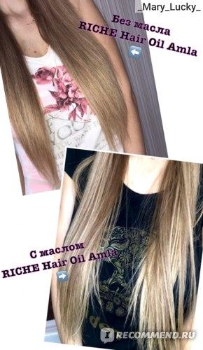Длина и концы до и после использования масла RICHE Hair Oil Amla