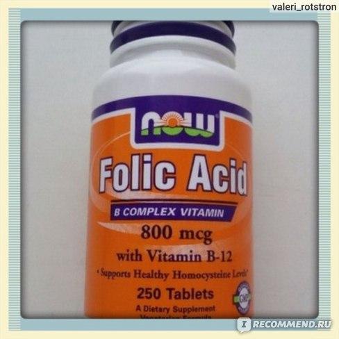 БАД Now Foods Folic Acid with vitamin B12, 800 mcg, 250 Tablets фото