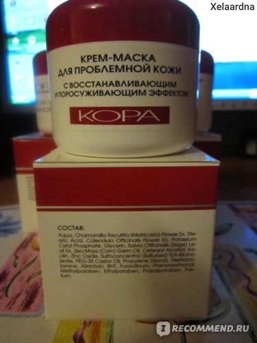 Крем-маска для лица Кора для проблемной кожи с восстанавливающим и поросуживающим эффектом фото