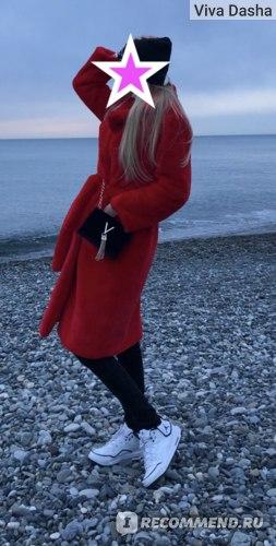 Голубая шуба и Красная шуба с поясом с Алиэкспресс отзыв фото ссылка