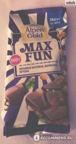 "Шоколад Alpen Gold Max Fun ""Взрывная карамель, мармелад, печенье"" фото"