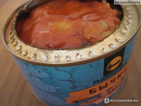 Консервы рыбные Рыбиновичъ Обжаренные в томатном соусе бычки фото
