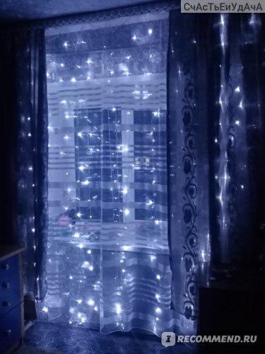 """Гирлянда  """"Би Лайт"""" дождик 3 х 3 метра, новогодняя штора/занавес на окно фото"""