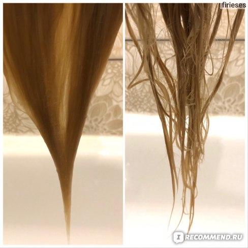 Слева - волосы в процессе смывания кондиционера. Справа - волосы после полного смывания кондиционера, отжата лишняя вода.
