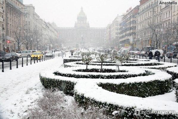 Зимняя Прага. Вацлавская площадь.