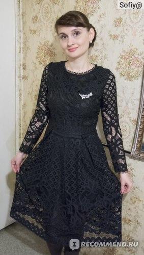 Платье AliExpress New 2018 Autumn Fashion Hollow Out Elegant White Lace Elegant Party Dress High Quality Women Long Sleeve Casual Dresses M369 фото